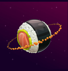 Sushi roll planet fantasy space vector