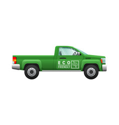 Transport isolated classic green car eco pickup vector
