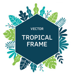 Tropical leaves and plants sguare frame vector