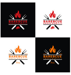Vintage retro bbq grill barbecue barbecue logo vector