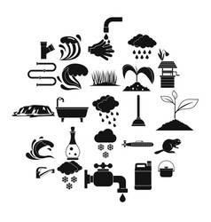 Water service icons set simple style vector