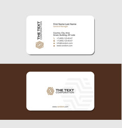 White business card with brown logotype vector