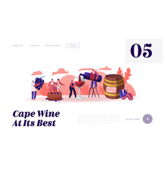 Wine producing and drinking website landing page vector