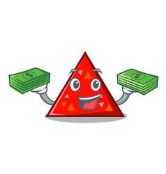 With money triangel mascot cartoon style vector