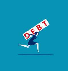 Woman under burden loan concept business vector