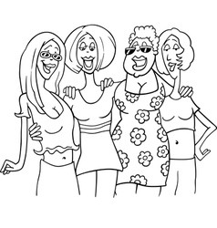 women friends cartoon vector image