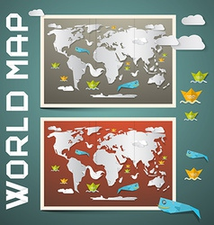 World Maps - Paper Set vector image