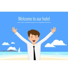 Male manager of the hotel welcomes its guests vector image
