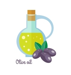 Olive oil in bottle with black olives flat design vector