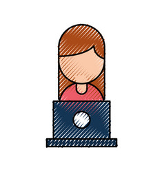 people with laptop work network communication vector image