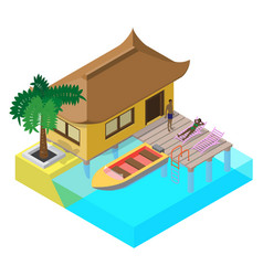scene of summer rest in isometric view with sea vector image