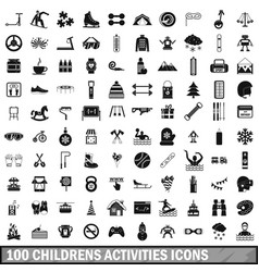 100 children activities icons set simple style vector image vector image