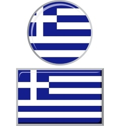 Greek round and square icon flag vector image vector image