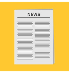 Newspaper icon Flat design Isolated Yellow vector image