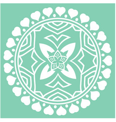 white heart round circle mandala green background vector image