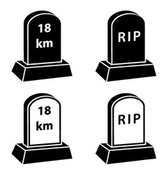 3d milestone tombstone black symbols vector image vector image