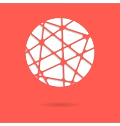 abstract red mesh ball or circle with shadow vector image vector image