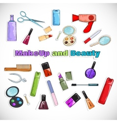 Beauty Salon Doodles vector image