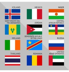 Flags of world flat Set number 08 vector image vector image