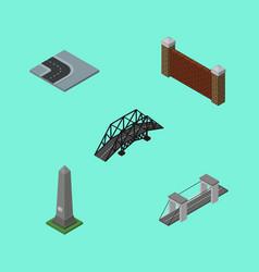 isometric street set of dc memorial barrier vector image vector image