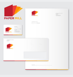 paper mill logo factory identity vector image vector image