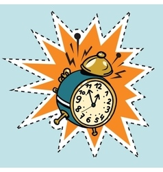 The alarm clock rings time vector