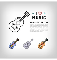Acoustic guitar isolated line art icon Music vector image vector image