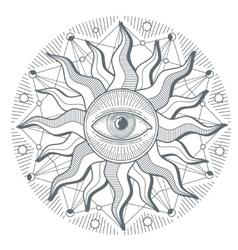 All seeing eye illuminati new world order vector image