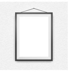 Black picture frame on a wall vector image