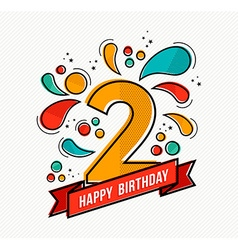 Colorful happy birthday number 2 flat line design vector image