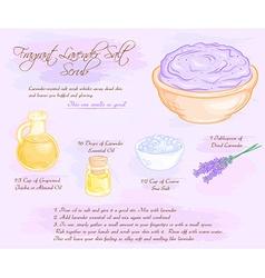hand drawn of fragrant lavender salt scrub recipe vector image