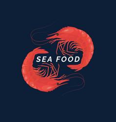 modern conceptual logo sea food with vector image vector image
