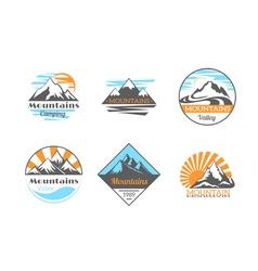Mountains logo set mountain rock outdoor camping vector
