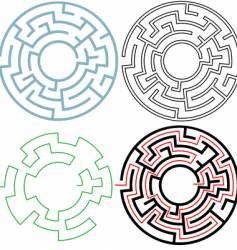 radial circle maze vector image vector image