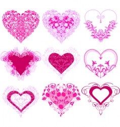 red hearts with filigree ornament vector image