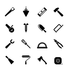 Silhouette Construction and Building Tools icons vector image vector image
