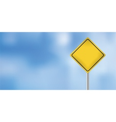 warning sign over blue sky vector image vector image
