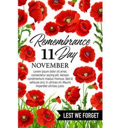 11 november poppy remembrance day card vector