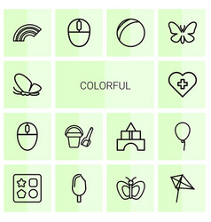 14 colorful icons vector image