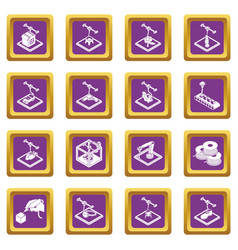 3d printing icons set purple square vector image
