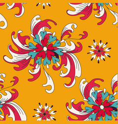 abstract flowers on an orange background seamless vector image