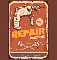 Auto service retro banner for car repair design vector