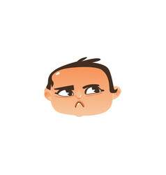 baby head icon - angry suspicious face expression vector image