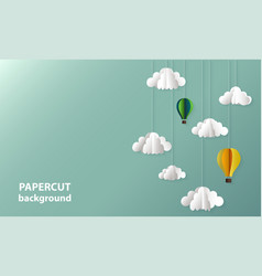 background with paper cut shapes clouds vector image