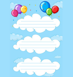 balloon cloud frame template vector image