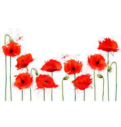 beautiful abstract background with red poppies vector image