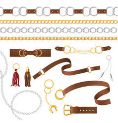 belt elements metal chains pendant and braid vector image
