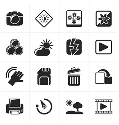 Black Photography and Camera Function Icons vector