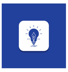 blue round button for bulb idea electricity vector image