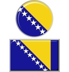 Bosnia and Herzegovina round square icon flag vector image